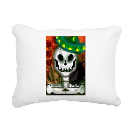 Skull in Green Sombrero Rectangular Canvas Pillow