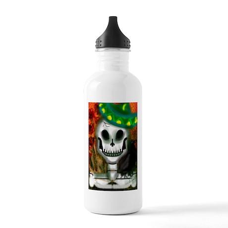 Skull in Green Sombrero Stainless Water Bottle 1.0