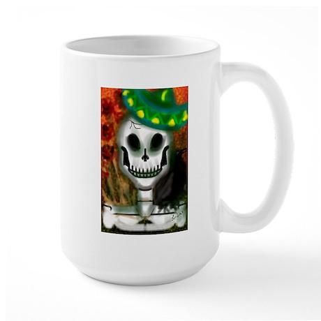 Skull in Green Sombrero Large Mug