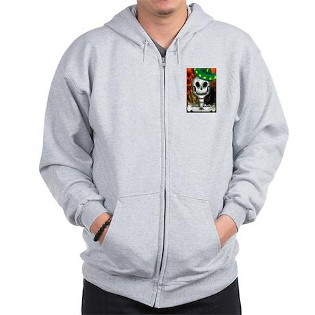 Skull in Green Sombrero Zip Hoodie