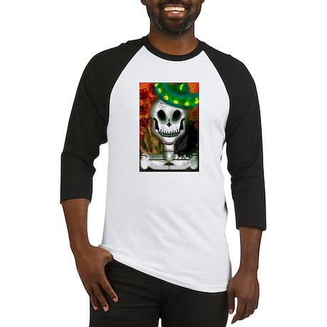 Skull in Green Sombrero Baseball Jersey