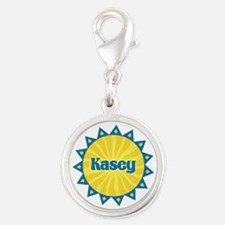 Kasey Sunburst Silver Round Charm