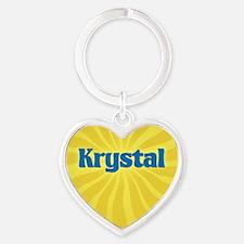 Krystal Sunburst Heart Keychain
