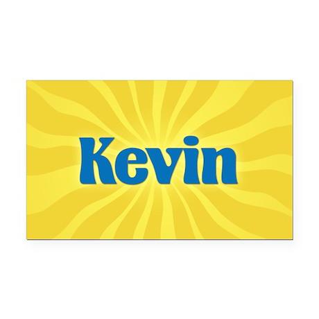 Kevin Sunburst Retangular Car Magnet
