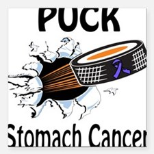 """Puck Stomach Cancer Square Car Magnet 3"""" x 3"""""""