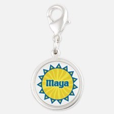 Maya Sunburst Silver Round Charm