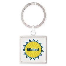 Michael Sunburst Square Keychain