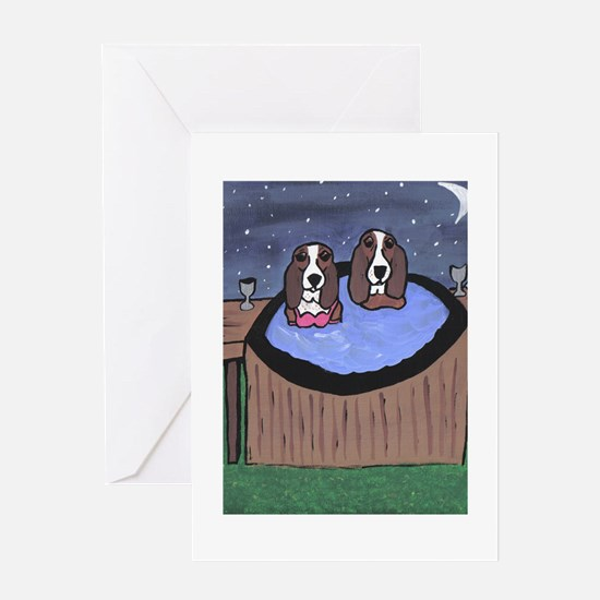 hot tubbing Greeting Cards