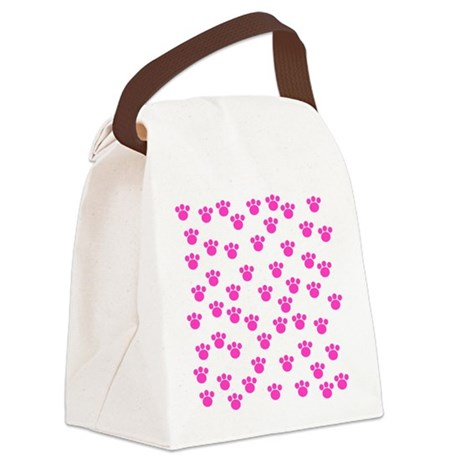 Pink Paw Print Pattern. Canvas Lunch Bag