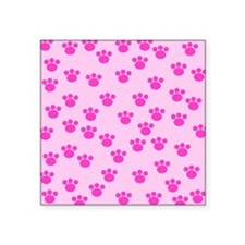 "Paw Print Pattern, Pink. Square Sticker 3"" x 3"""