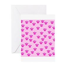 Paw Print Pattern, Pink. Greeting Card