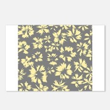 Yellow and Gray Floral. Postcards (Package of 8)