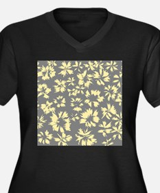 Yellow and Gray Floral. Women's Plus Size V-Neck D