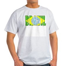 Word Art Flag of Brazil Ash Grey T-Shirt