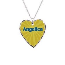 Angelica Sunburst Necklace Heart Charm