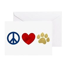 Peace Love Paw Print Greeting Card