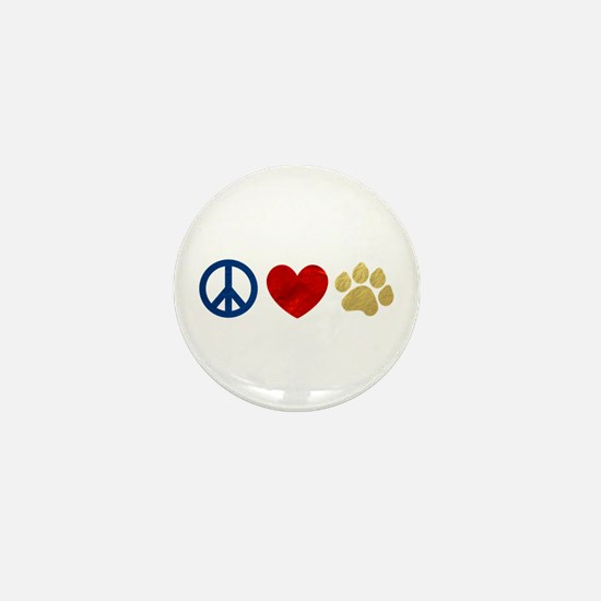 Peace Love Paw Print Mini Button (10 pack)