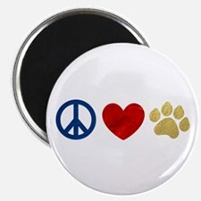 """Peace Love Paw Print 2.25"""" Magnet (100 pack)"""