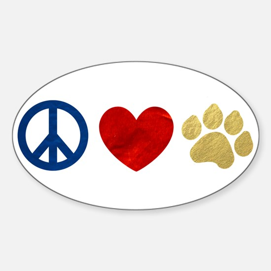 Peace Love Paw Print Sticker (Oval)