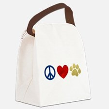 Peace Love Paw Print Canvas Lunch Bag