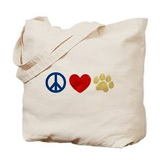 Peace Love Paw Print Tote Bag
