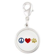 Peace Love Paw Print Silver Round Charm