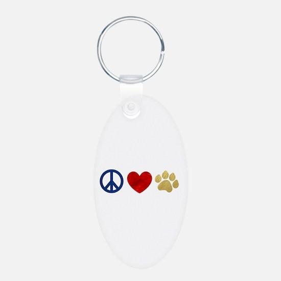 Peace Love Paw Print Keychains