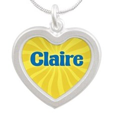Claire Sunburst Silver Heart Necklace