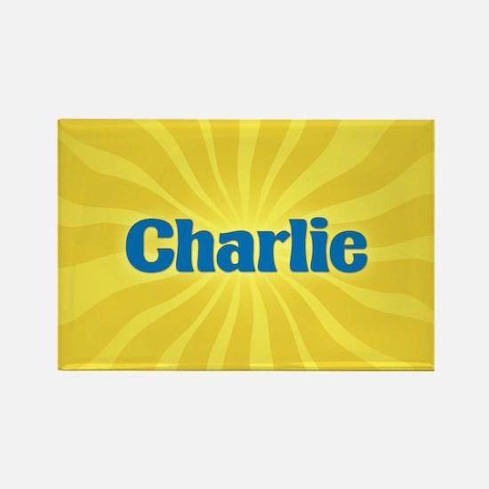 Charlie Sunburst Rectangle Magnet