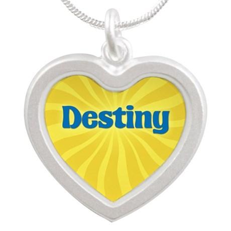 Destiny Sunburst Silver Heart Necklace