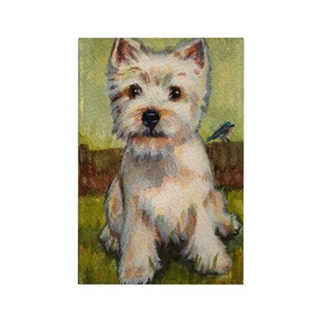 Westie Spring by Carol Wells Rectangle Magnet