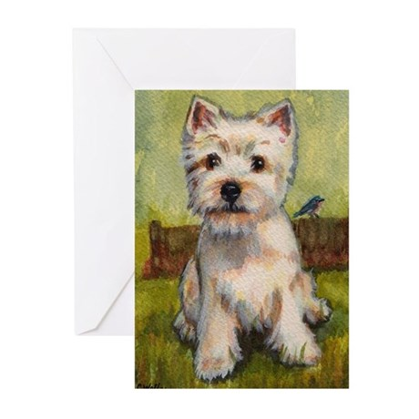 Westie Spring by Carol Wells Greeting Cards (Pk of