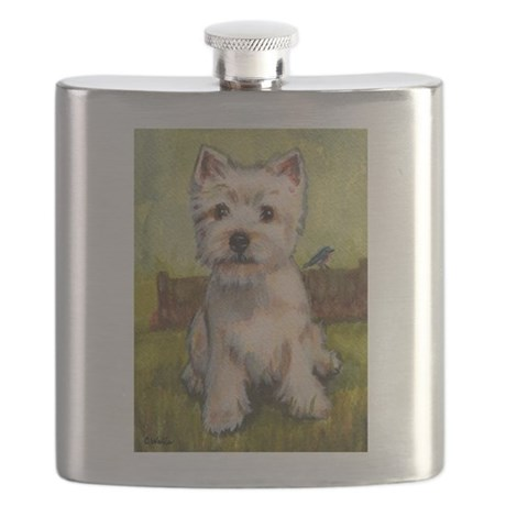 Westie Spring by Carol Wells Flask