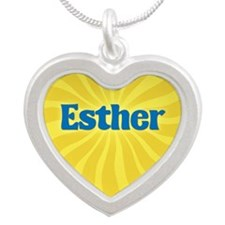 Esther Sunburst Silver Heart Necklace