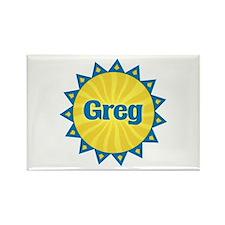 Greg Sunburst Rectangle Magnet