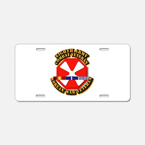 Army - 8th Army w Korean Svc Aluminum License Plat