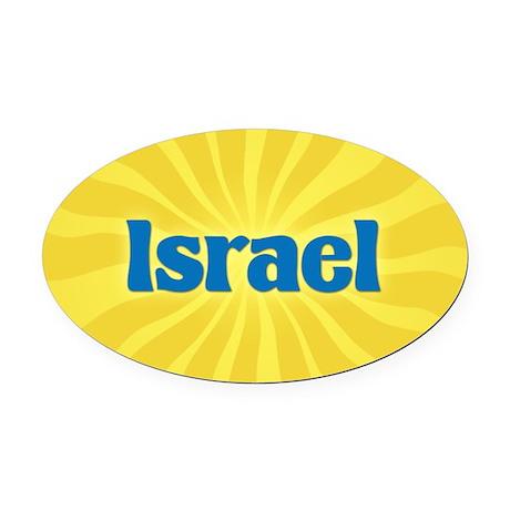 Israel Sunburst Oval Car Magnet