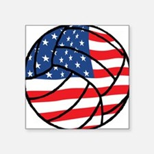 """US Flag Volleyball Square Sticker 3"""" x 3"""""""