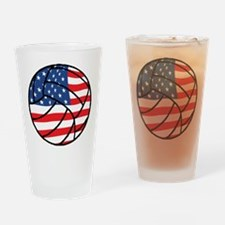 US Flag Volleyball Drinking Glass