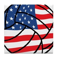 US Flag Volleyball Tile Coaster