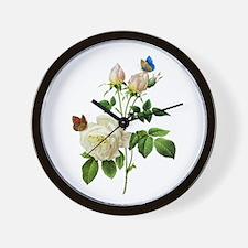 Pierre-Joseph Redoute Rose Wall Clock