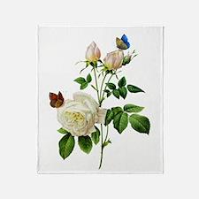 Pierre-Joseph Redoute Rose Throw Blanket