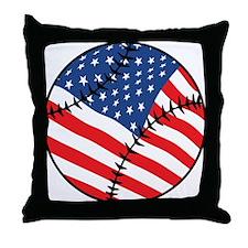 US Flag Baseball Throw Pillow