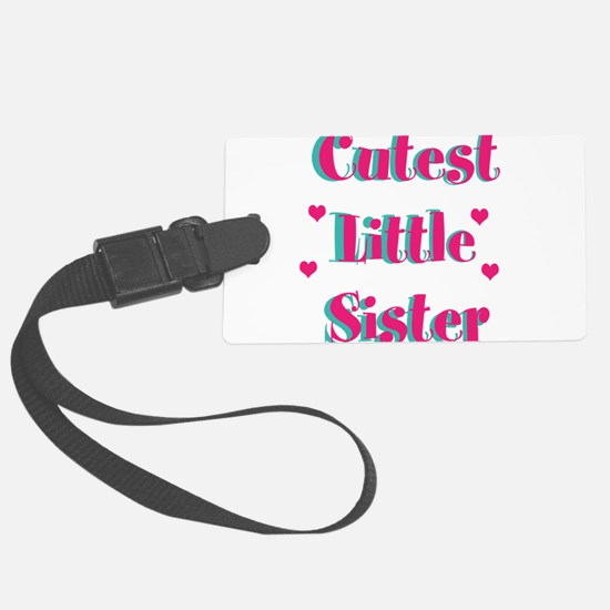 Pink and Turquoise Cutest Little Sister Luggage Tag