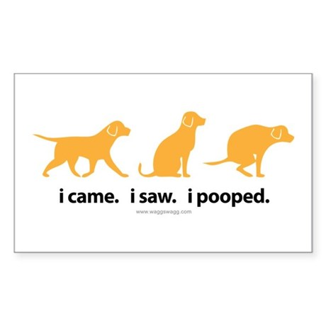 i Came. i Saw. i Pooped. Sticker (Rectangle)