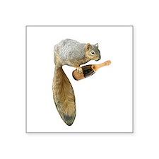 """Squirrel Champagne Square Sticker 3"""" x 3"""""""