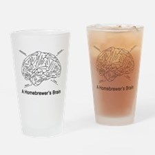 A Homebrewer's Brain (white) Drinking Glass
