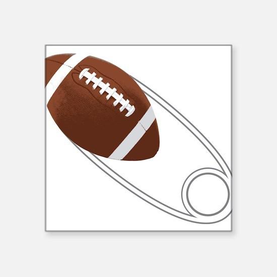"""Football Diaper Pin Square Sticker 3"""" x 3"""""""