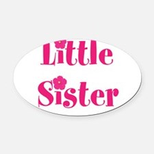 Little Sister Pink Hibiscus Flower Oval Car Magnet
