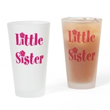 Little Sister Pink Hibiscus Flower Drinking Glass